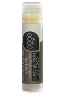 All Good organic lip balm in coconut pictured with drop shadow on a white background.