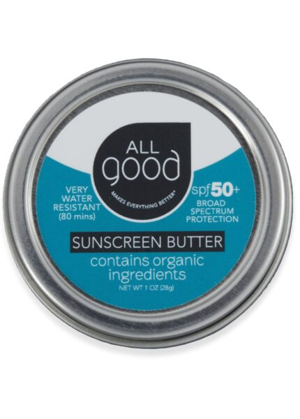 All Good SPF 50+ Sunscreen Butter tin is pictured with drop shadow on a white background