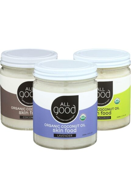 All Good Lavender Original and Lemongrass coconut oil skin food products staggered in a triangle on white background
