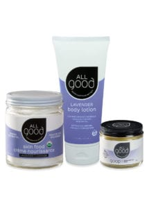3 lavender All Good products with drop shadow are shown against a white background.