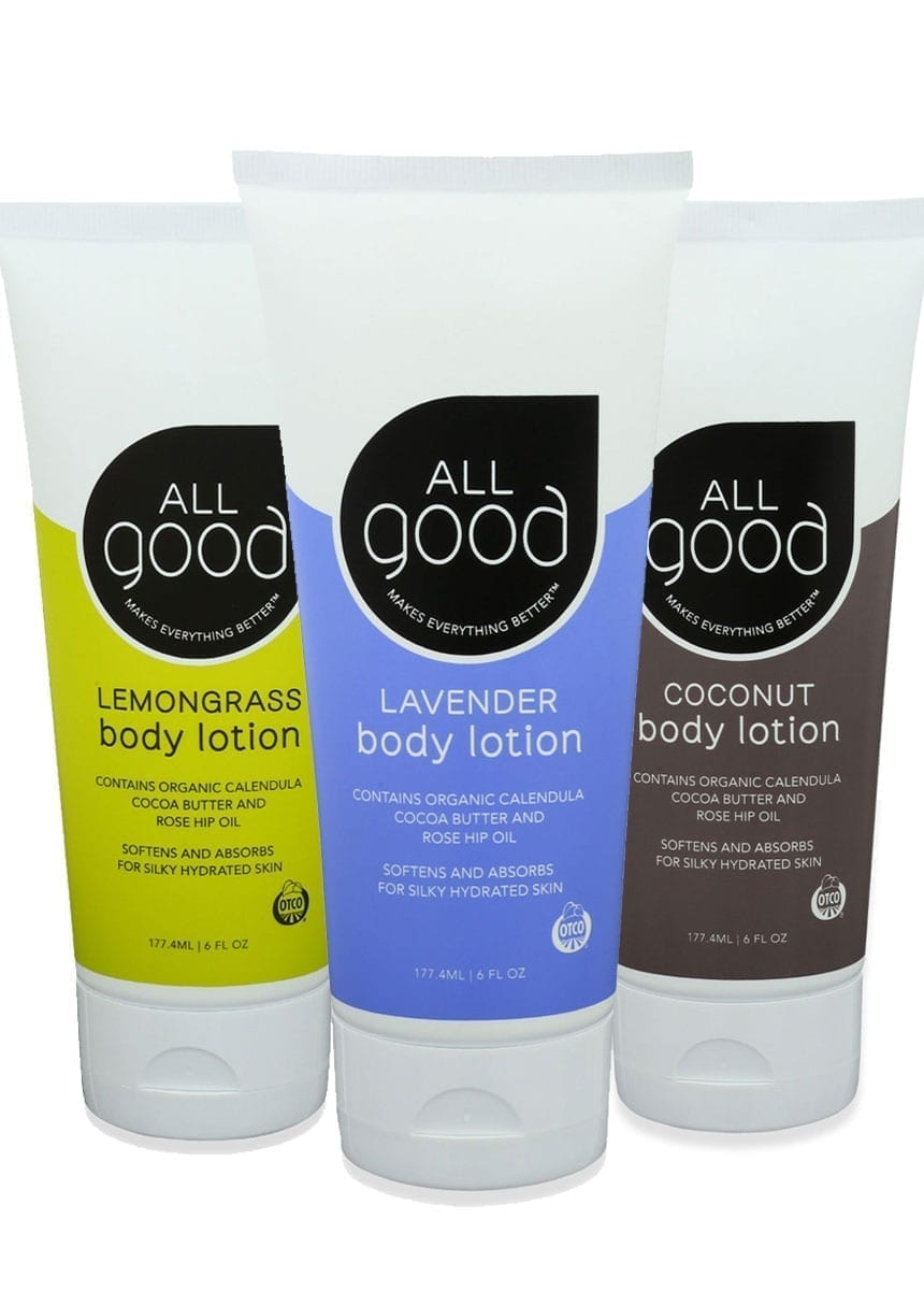 3 All Good products are shown with drop shadow on a white background.