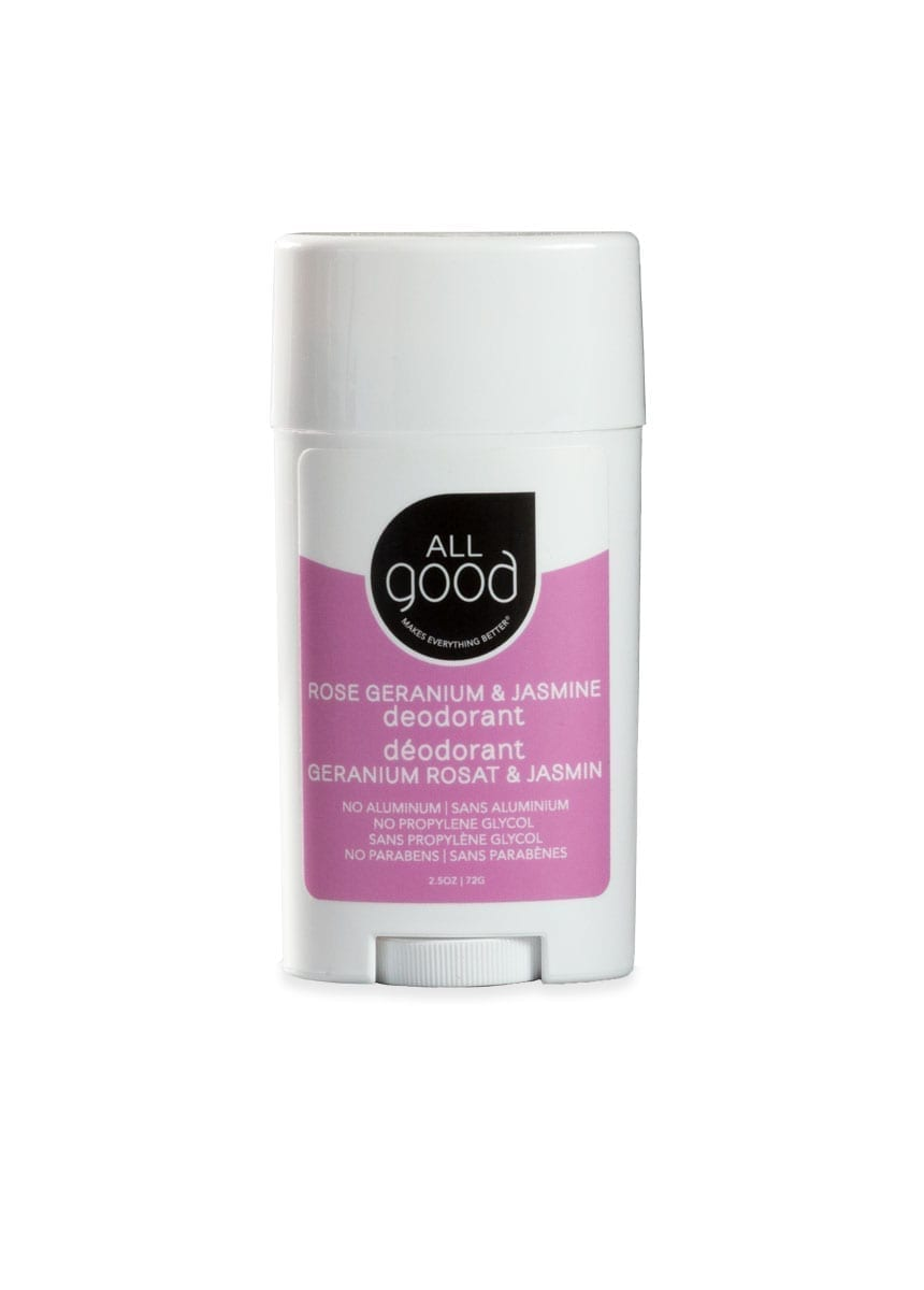 All Good aluminum-free deodorant in Rose Geranium & Jasmine pictured with drop shadow on a white background.