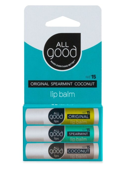 All Good Original Spearmint and Coconut Lip Balm SPF 15 product 3 pack on a white background