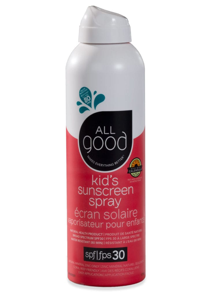 All Good mineral sunscreen spray for kids shown with drop shadow on a white background.