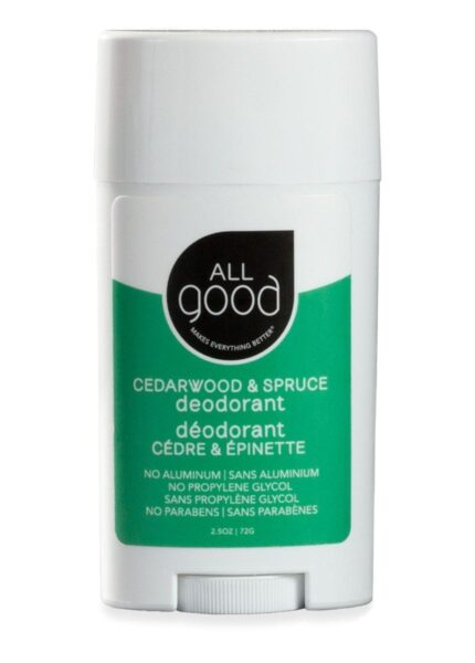 All Good aluminum free deodorant in Cedarwood in Spruce is pictured with drop shadow on a white bacground.