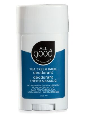 All Good Deodorant in Tea Tree and basil deodorant is pictured with drop shadow is against a white background.