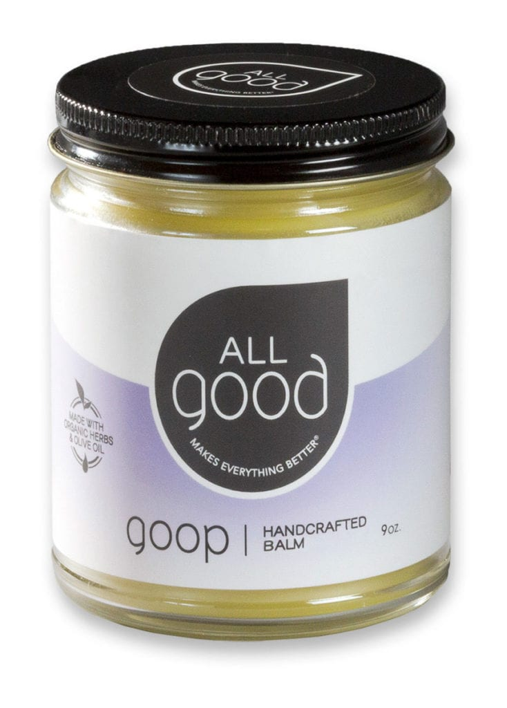 All Good Goop 9oz jar pictured with drop shadow on a white background.