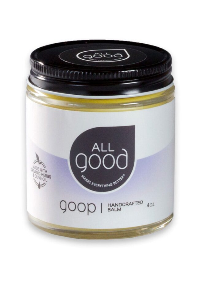 All Good Goop 4oz jar pictured with drop shadow on a white background.