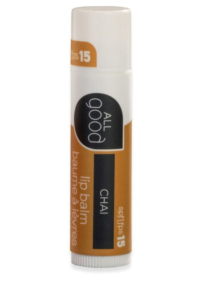 All Good SPF 15 lip balm in chai pictured with drop shadow on a white background.