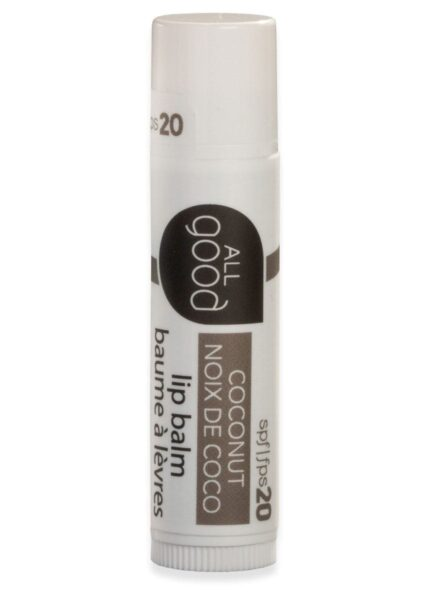 All Good SPF 20 lip balm in coconut pictured with drop shadow on a white background.