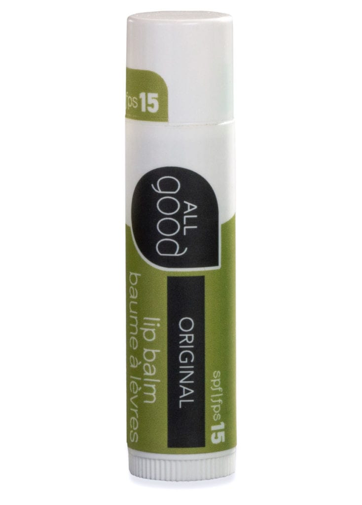 All Good SPF 15 original lip balm is pictured with drop shadow shown on a white background.