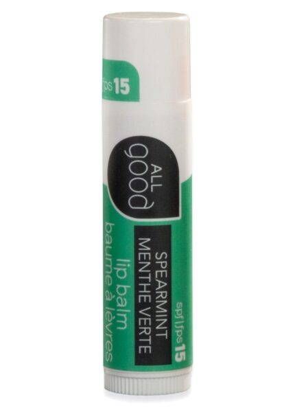 All Good Lips SPF 15 in Spearmint pictured with drop shadow on a white background.