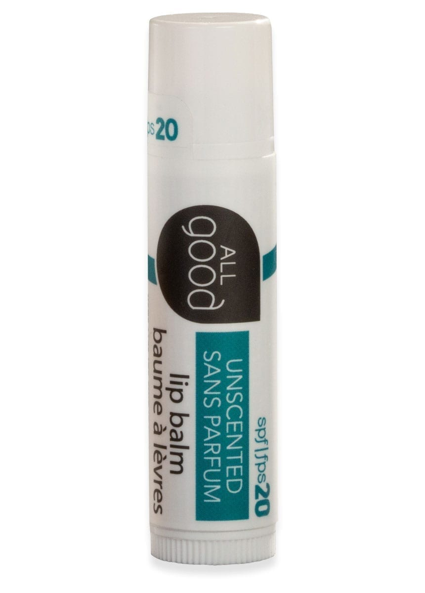 All Good SPF 20 lip balm pictured with drop shadow on a white background.