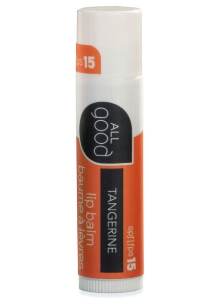 All Good SPF 15 tangerine lip balm pictured with drop shadow on a white background.