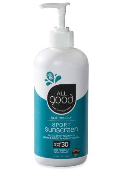 All Good SPF 30 Sport Mineral Sunscreen Lotion Pump with drop shadow shown on a white background.