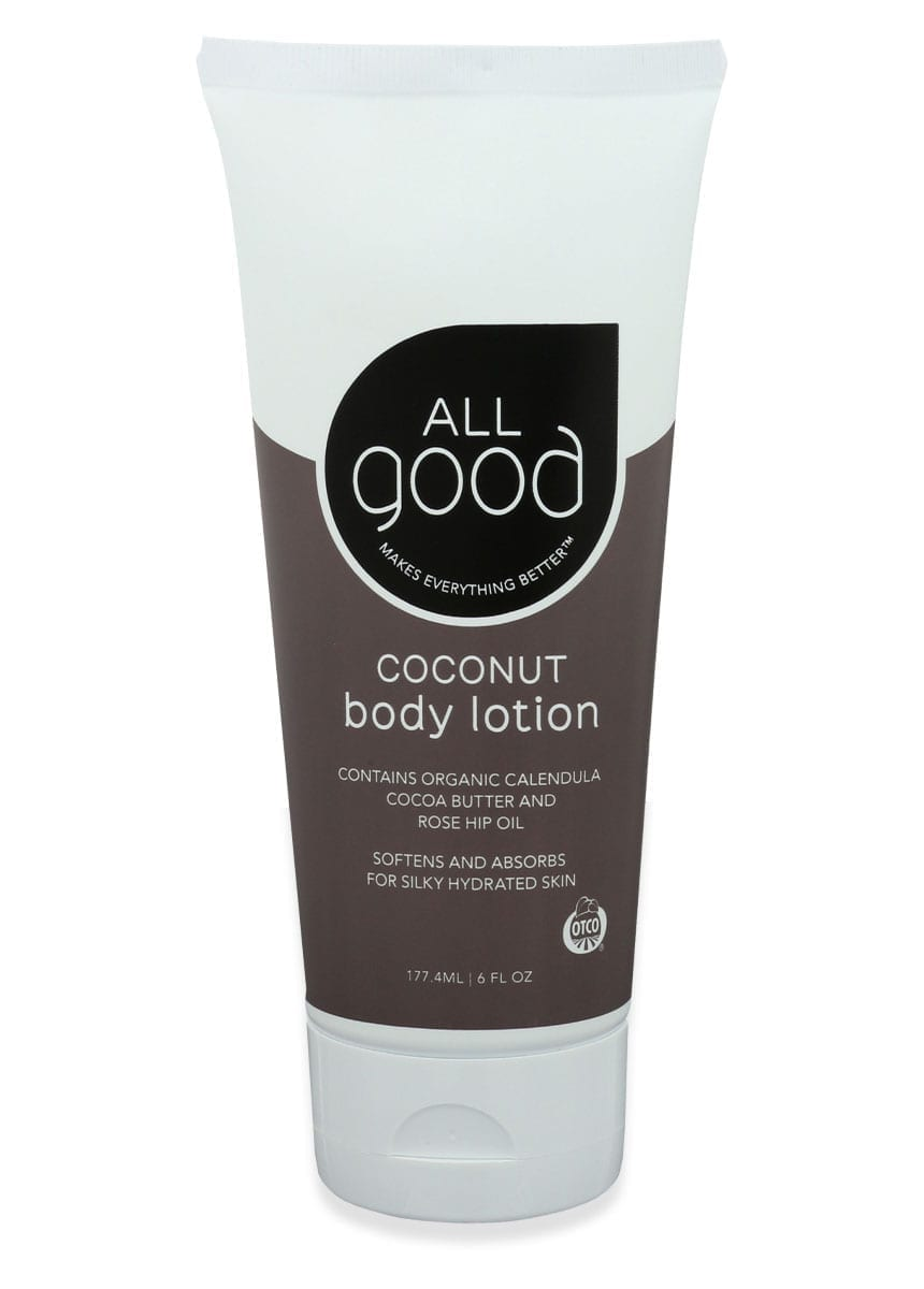 All Good Organic Coconut lotion is pictured with drop shadow on a white background.