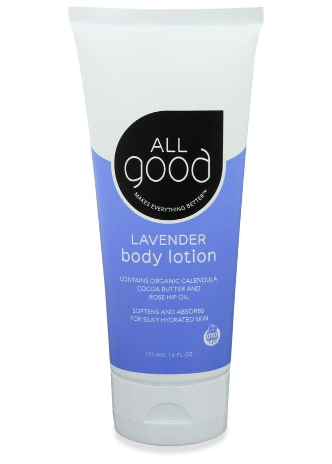 All Good Organic Lavender lotion is pictured with drop shadow on a white background.