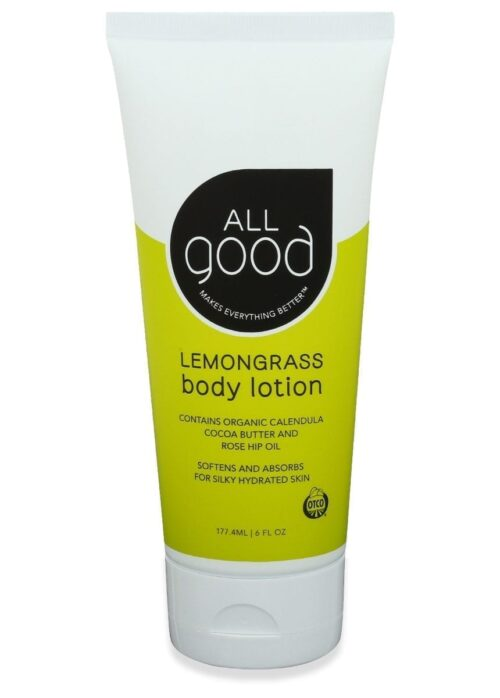 All Good Organic Lemongrass lotion is pictured with drop shadow on a white background.