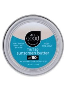 All Good Tinted Mineral Sunscreen Butter SPF 50 with drop shadow is shown on a white background.