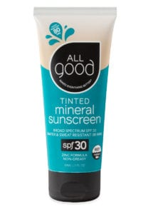 All Good Tinted Mineral Sunscreen SPF 30 lotion with drop shadow is shown on a white background.