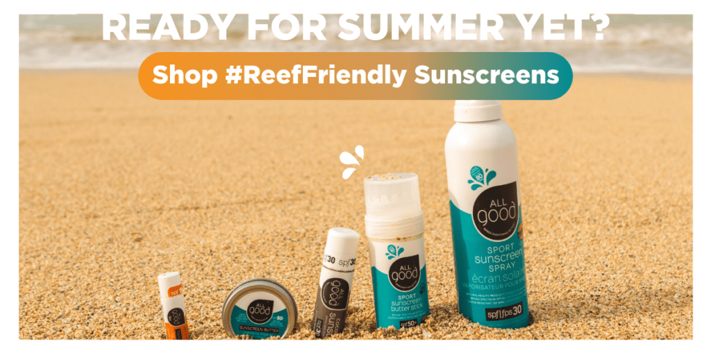 All good reef safe products range on the beach