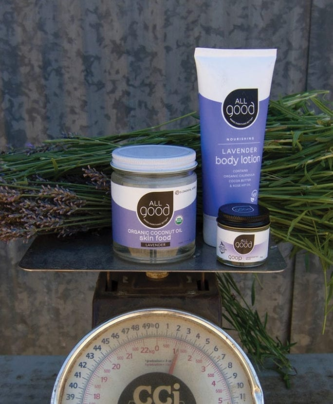 3 All Good products are shown on a scale with a bundle of lavender against a tin shed background.