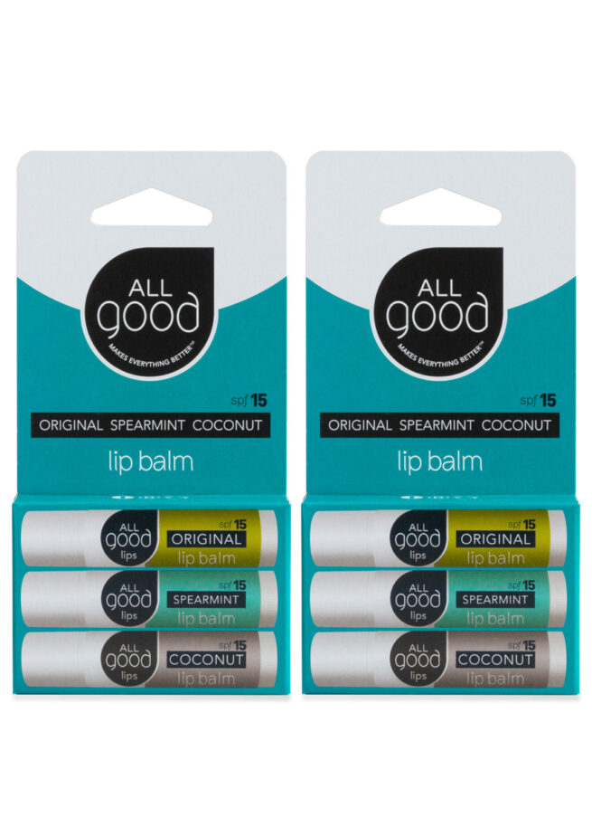 An image of All Good's SPF 15, 6 pack lip balm